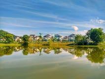 Отражение озера Darulaman в Jitra, Kedah Стоковые Фотографии RF