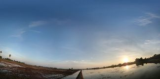 Отражение рисовых полей Стоковая Фотография RF