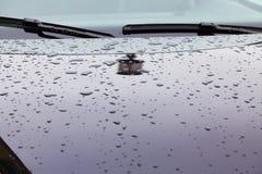 Отражение уличного фонаря и дождевых капель на клобуке автомобиля Стоковая Фотография