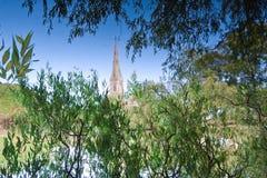 Отражение церков в воде Стоковые Изображения