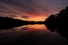 Отражения захода солнца в Польше стоковое фото rf