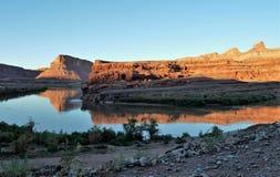Отражения захода солнца Колорадо около Moab Стоковые Фото