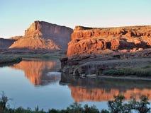 Отражения захода солнца Колорадо около Moab Стоковое Изображение RF