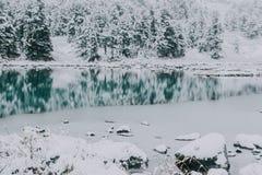 Отразите поверхность озера зимы с горной цепью стоковые фотографии rf