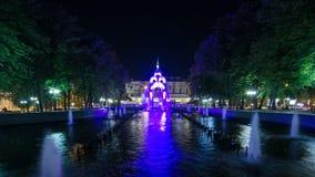 Отразите timelapse потока или потока стекла - первый символ города Харькова акции видеоматериалы