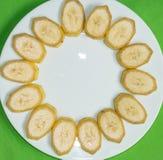 Отрежьте бананы стоковая фотография