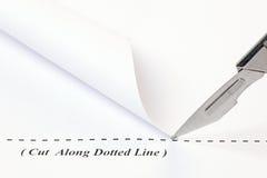 Отрежьте вдоль пунктирной линии Стоковые Фотографии RF