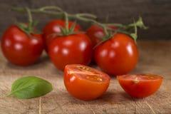 Отрежьте в половинном томате вишни с лист базилика Стоковое Изображение RF