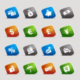 отрежьте квадраты икон финансов Стоковые Фотографии RF