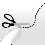 отрежьте пунктирную линия ножницы страницы волнистые Стоковое Изображение RF