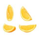 Отрежьте раздел апельсина изолированный над белой предпосылкой, комплектом различных foreshortenings стоковые фото