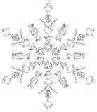 отрежьте сделанный изолят диамантов различный снежинкой Стоковое Изображение