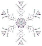 отрежьте сделанный изолят диамантов различный снежинкой Стоковая Фотография RF