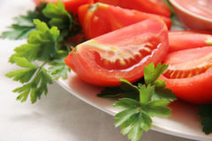 отрежьте томаты Стоковые Изображения