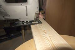 отрежьте увидел деревянное Стоковое Фото