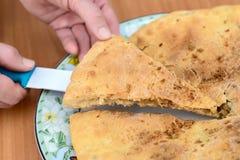 Отрежьте часть крупного плана яблочного пирога Стоковые Изображения RF