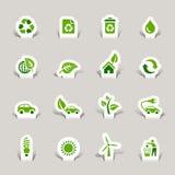 отрежьте экологическую бумагу икон Стоковое Изображение RF