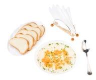 отрезанная ясность цыпленка отвара хлеба Стоковые Изображения
