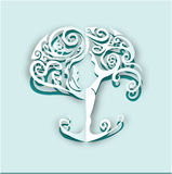 Отрезанное бумагой вне дерево йоги Стоковые Изображения
