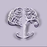 Отрезанное бумагой вне дерево йоги Стоковое Изображение RF