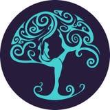 Отрезанное бумагой вне дерево йоги Стоковая Фотография