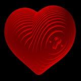 Отрезанное, красное сердце показывая замок иллюстрация вектора
