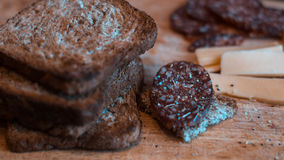 Отрезанное салями с приправой, сыром и здравицами Стоковая Фотография RF