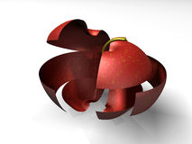 отрезанное яблоко 3d Стоковое Изображение RF