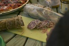 Отрезанное salame стоковое фото rf