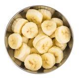 Отрезанные бананы изолированные на белизне Стоковая Фотография