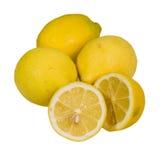 Отрезанные лимоны все и изолированный Стоковые Фотографии RF