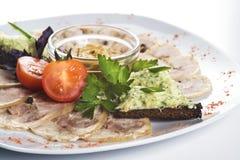 Отрезанные мясо и bruschettas Стоковое фото RF