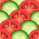 Отрезанные овощи томата и огурца Стоковая Фотография RF