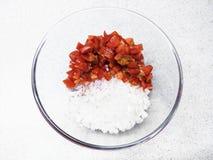 Отрезанные томат и лук Стоковые Изображения RF