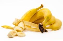 Отрезанный банан на белизне Стоковое Изображение RF