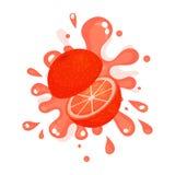Отрезанный кровопролитный красный апельсиновый сок брызгая, красочная свежая сочная иллюстрация плодоовощ бесплатная иллюстрация