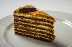 отрезанный мед торта стоковые изображения rf
