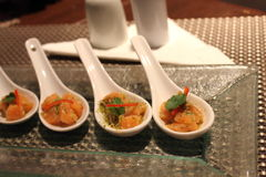 Отрезанный семгами соус морепродуктов ââwith стоковое изображение