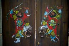 Отрезки бумаги Китая на двери Стоковое Изображение RF