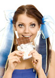 отрезки провода девушки шоколада стоковые изображения rf