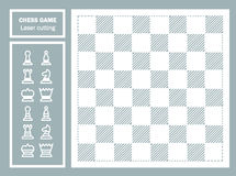 Отрезок лазера шахматов декоративный геометрический орнамент Части доски и шахмат Шаблон для вырезывания лазера металла, древесин Стоковые Фото