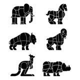 Отрезок бизона и носорога зверя набора мяса Слон и лошадь s бесплатная иллюстрация