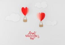 Отрезок бумаги воздушных шаров сердца горячих для celebrat дня валентинки Стоковая Фотография RF