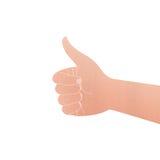 Отрезок бумаги изолированной руки с символом большого пальца руки как на белый ба Стоковое Изображение