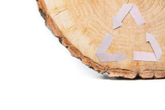 Отрезок конца-вверх деревянный и рециркулирует символ Стоковая Фотография