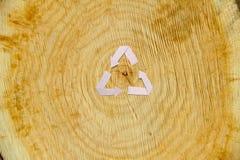 Отрезок конца-вверх деревянный и рециркулирует символ Стоковое фото RF