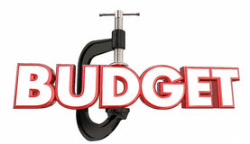 Отрезок слова струбцины бюджета вице сжимая уменьшает потратить Стоковые Изображения
