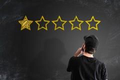 Отрицательные оценка обслуживания или концепция обратной связи с клиентом стоковые изображения rf