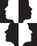 отрицательные положительные силуэты Стоковое Изображение