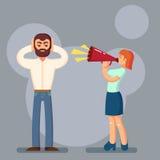 Отрицательная концепция эмоций Люди в бое Супруг и жена споря выкрикивать на одине другого Выразительные эмоциональные пары имея  стоковая фотография
